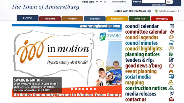 screen shot of the town of amherstburg website